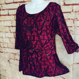 Perceptions red and black sparkle knit top 16